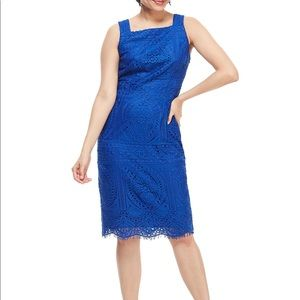 London Times Square sleeveless lace sheath dress